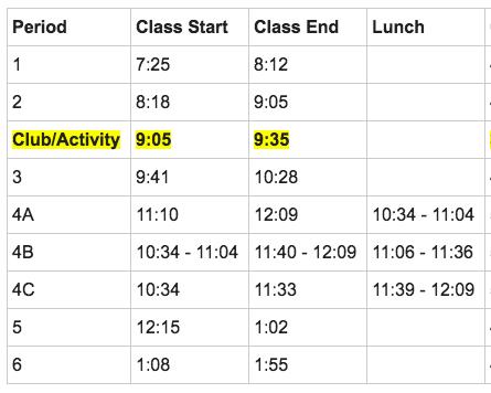 Club Bell Schedule