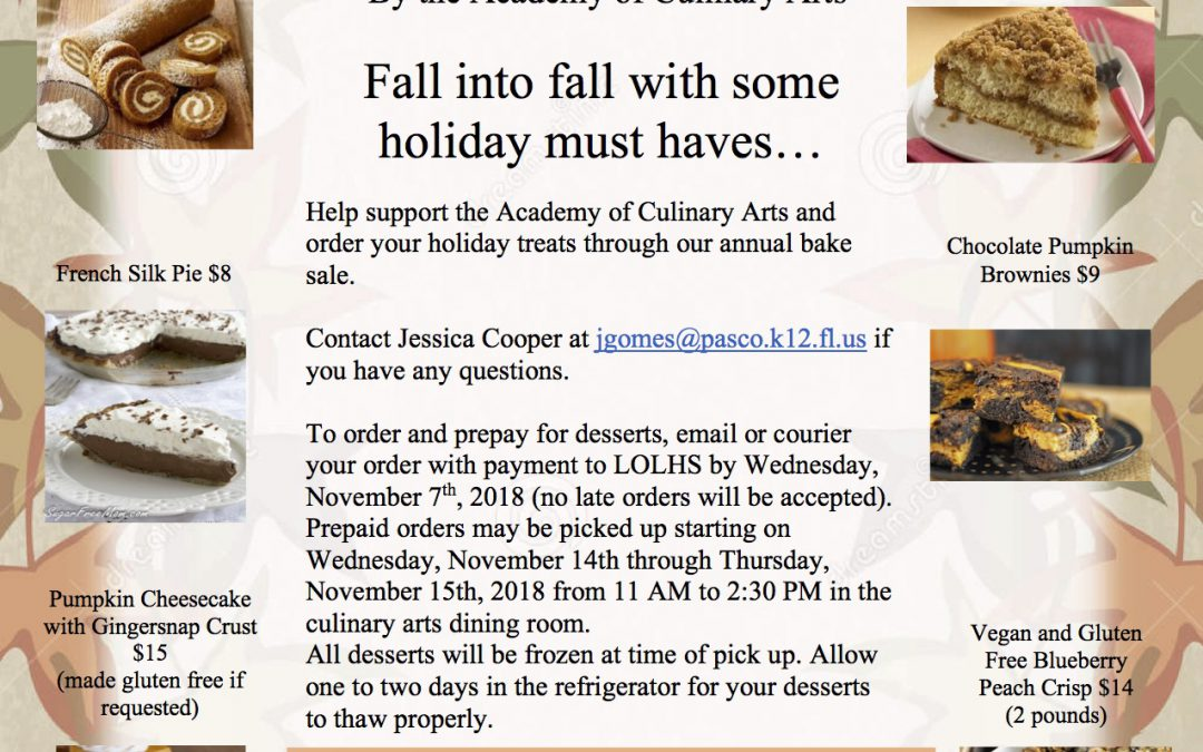 Culinary Arts Bake Sale Flyer