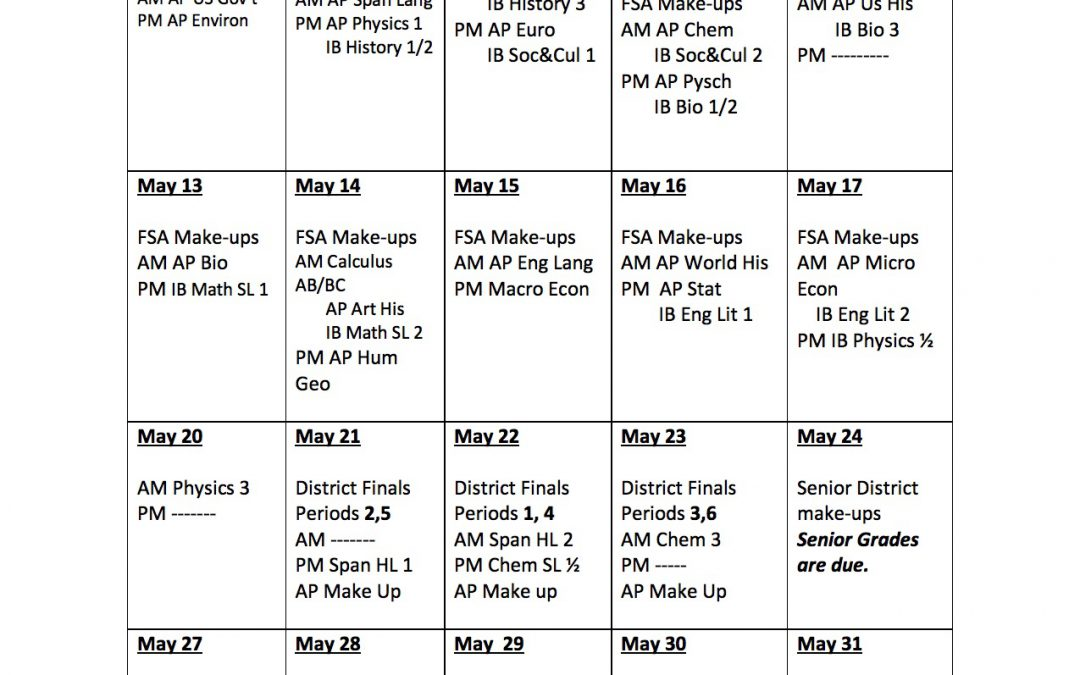 May Exam Schedule