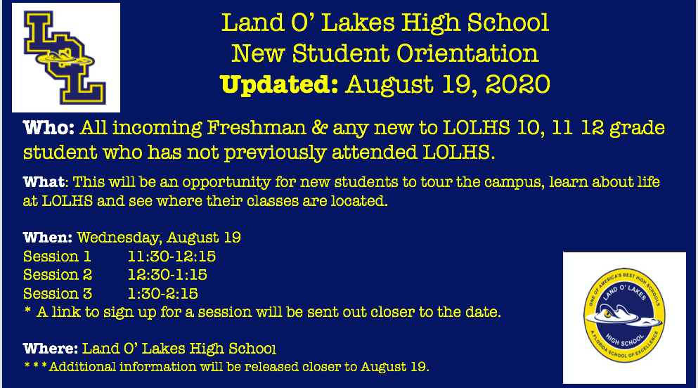 School Orientation for New Students – Updated